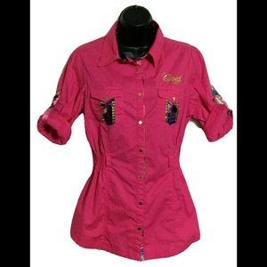 COOGI Womens Pink Blue Gold Snap Shirt Tunic XL